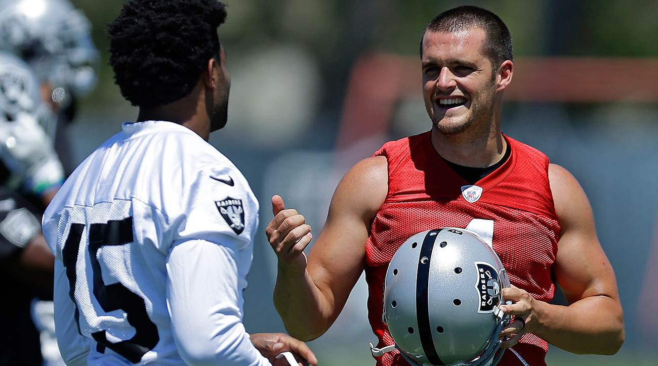 QB Derek Carr and WR Michael Crabtree in Alameda, Calif.