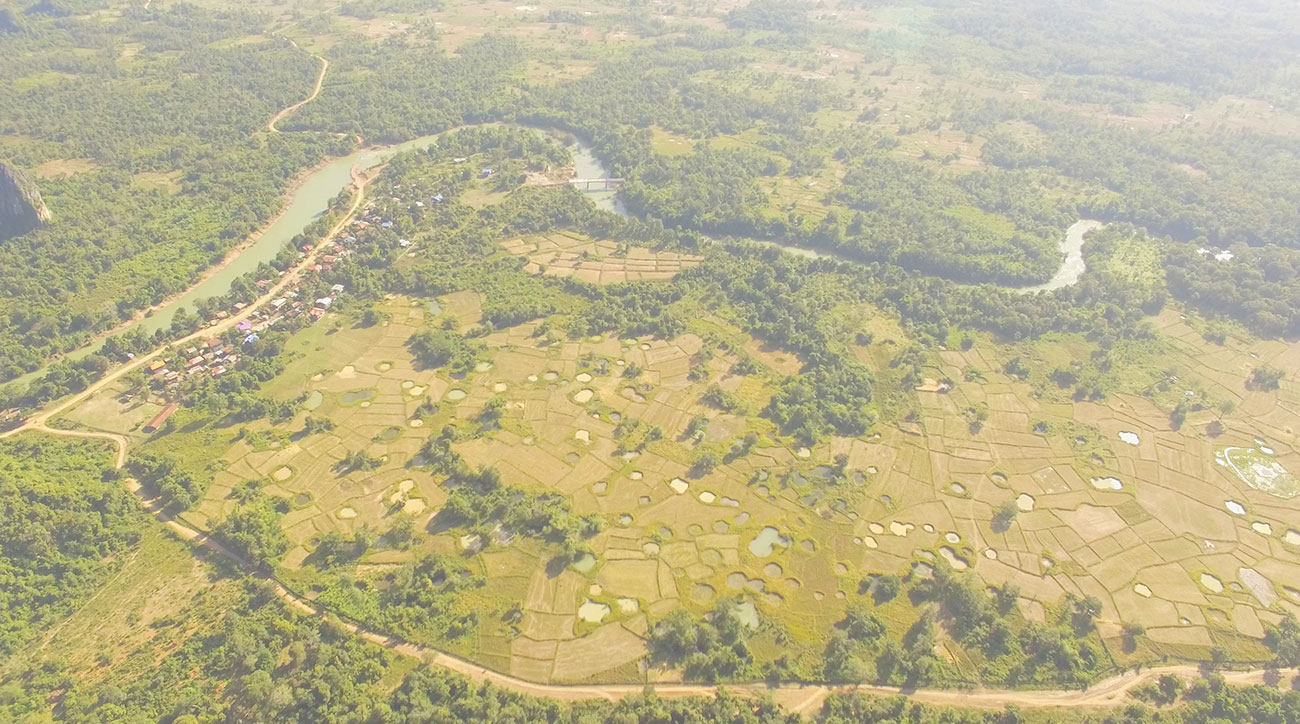 Drone shot of bomb craters in Laos. From the ride along the Ho Chin Minh Trail in 2015.