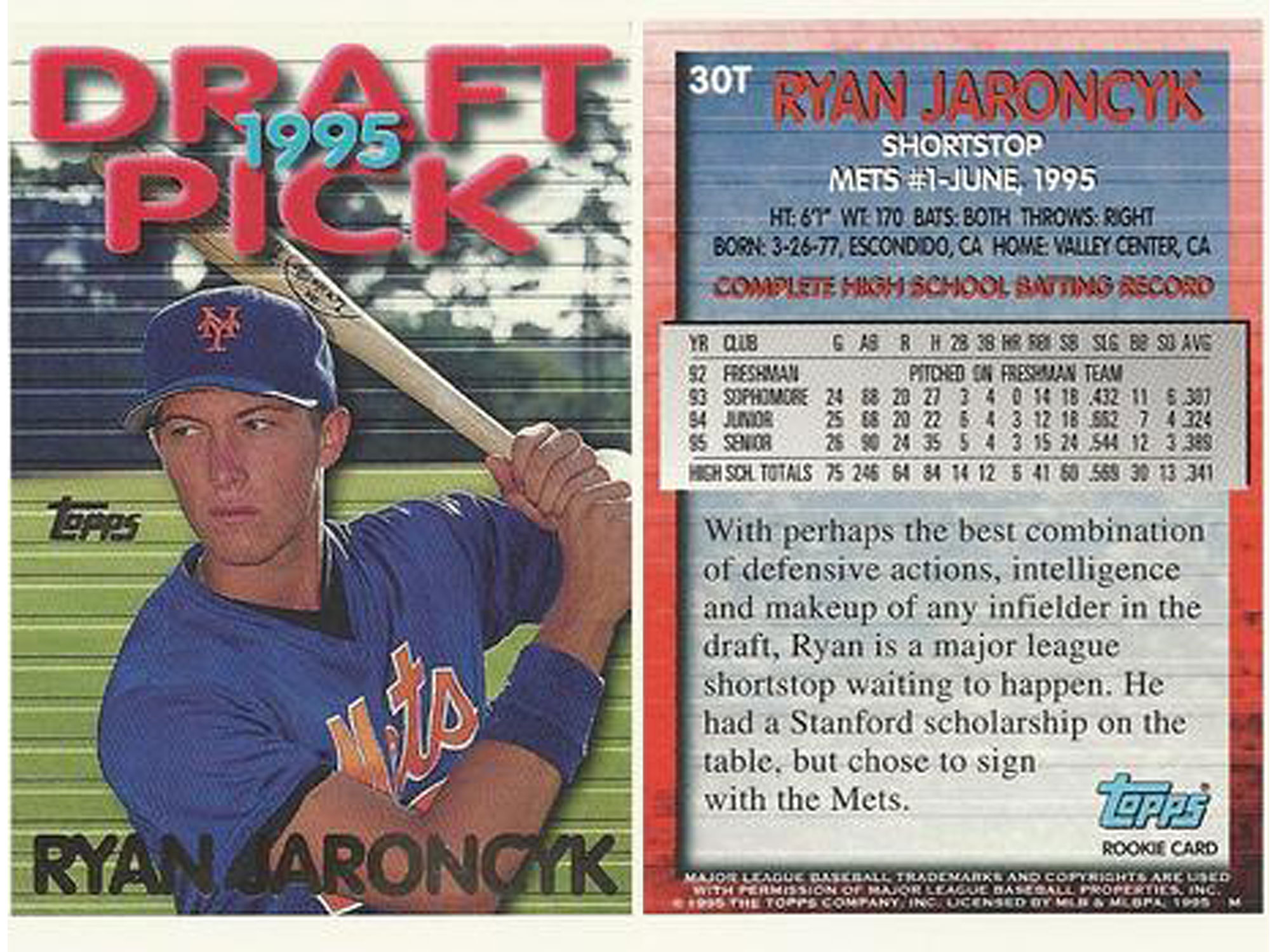Jaroncyk arrived in pro ball with strong stats and glowing reviews, as displayed on the back of his rookie card.