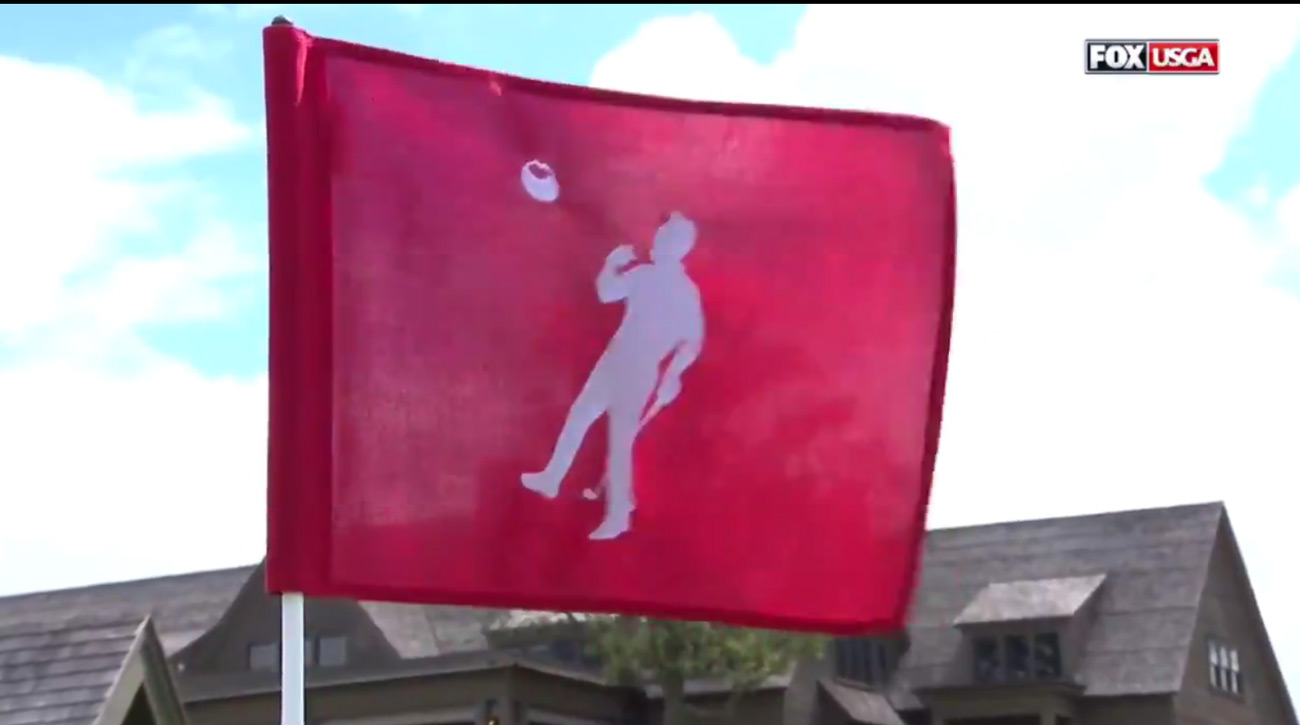 The flag on the 18th hole Sunday for the final round of the U.S. Open.