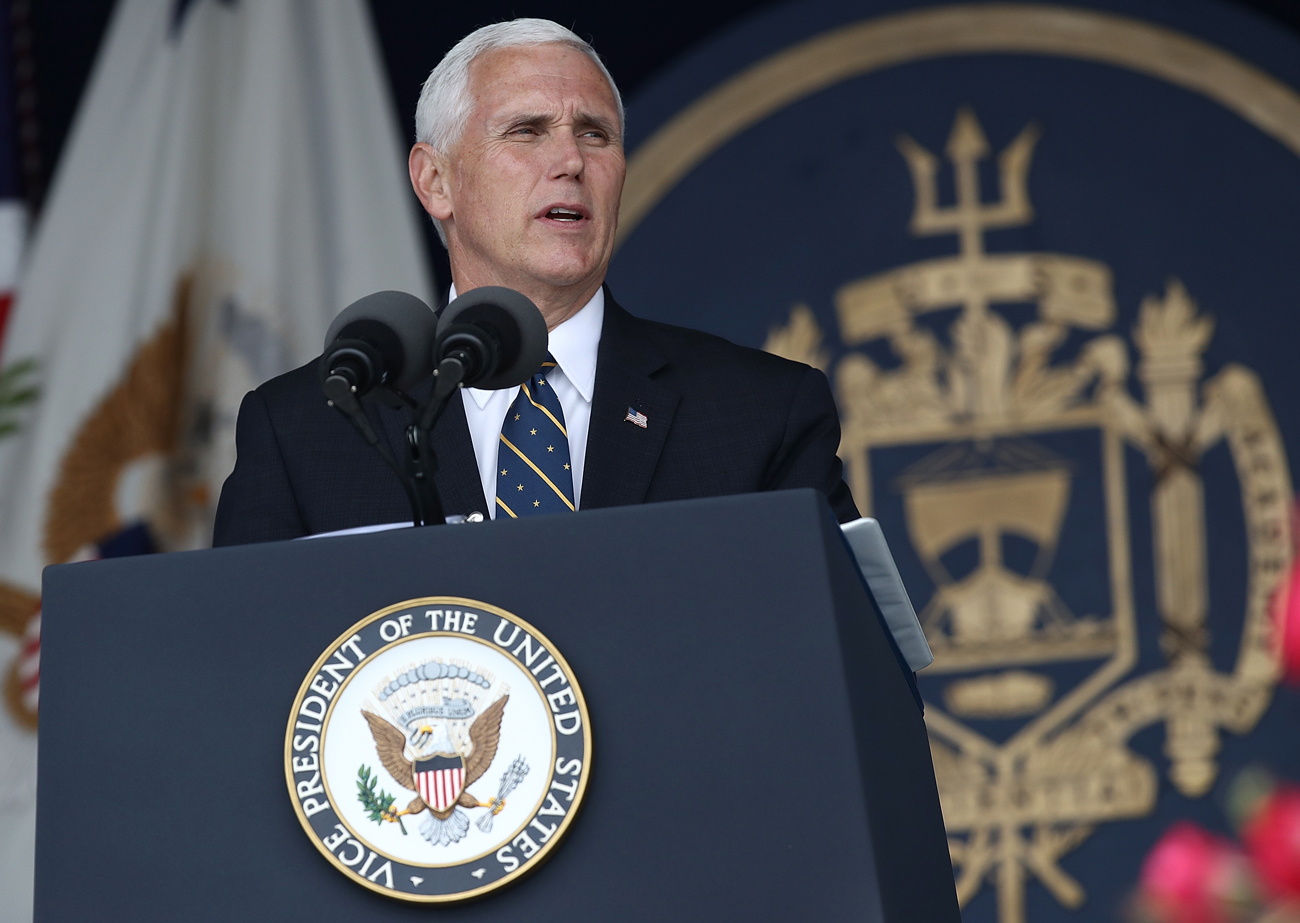 Vice President Mike Pence gave the commencement speech at the U.S. Naval Academy.