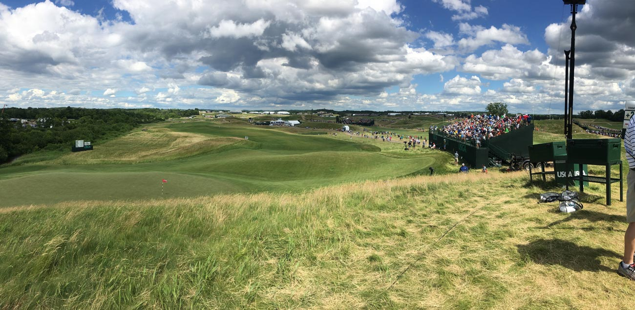 The view from the ideal perch atop the 15th hole at Erin Hills.