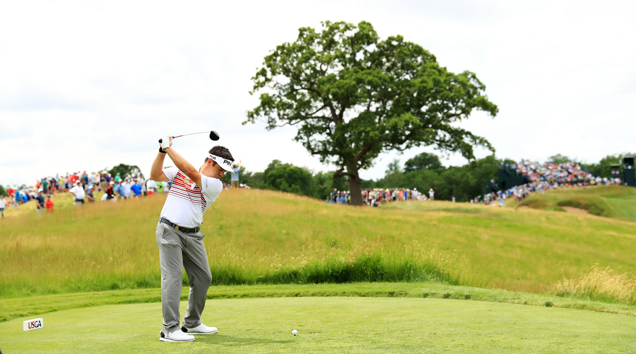 Louis Oosthuizen plays his shot from the 15th tee during the third round of the 2017 U.S. Open at Erin Hills.