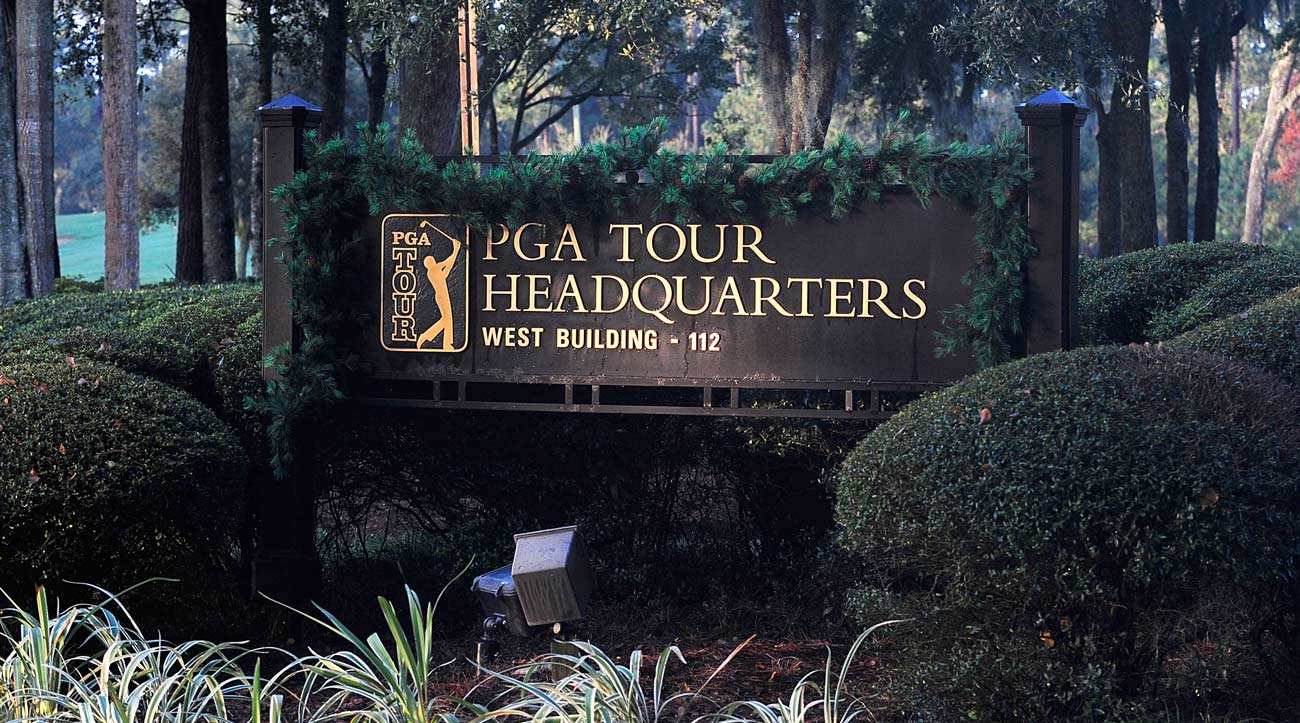 Signage at PGA Tour Headquarters in Ponte Vedra Beach, Florida.
