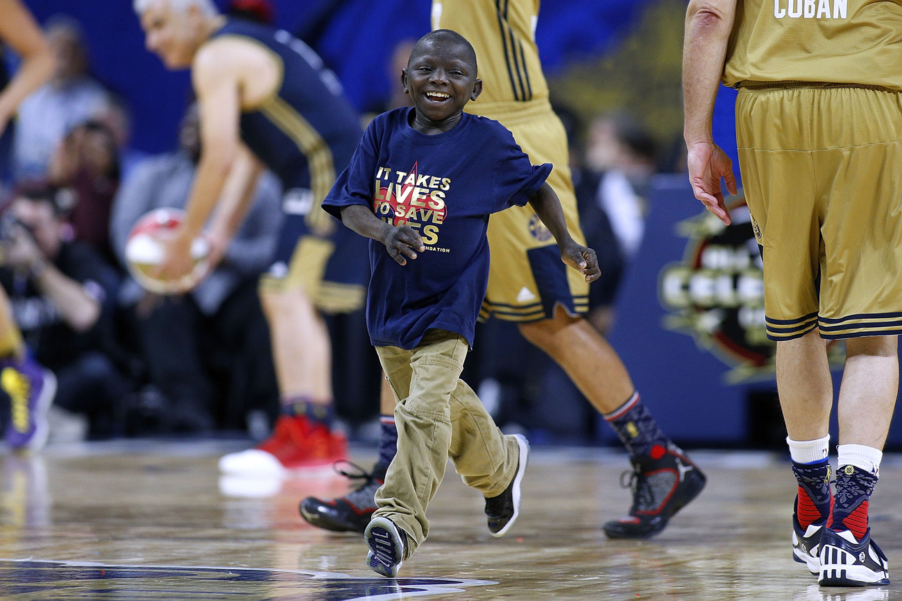 Jarrius Robertson, here at the NBA All-Star Game in February, has caught the attention of many in the sporting world.