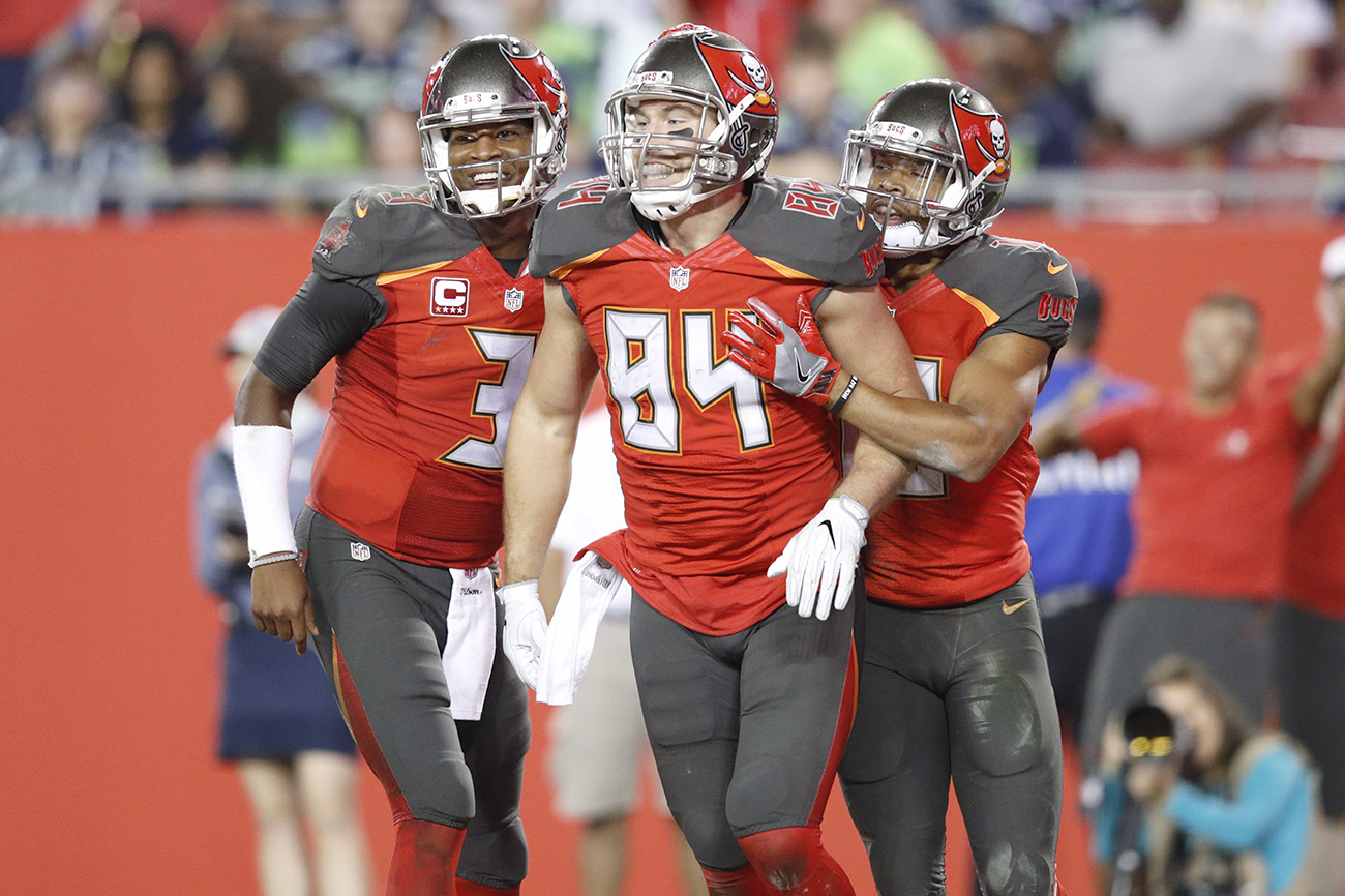 Brate (No. 84) is an alum of the Bucs' Ghost List, overlooked draft prospects identified through analytics.