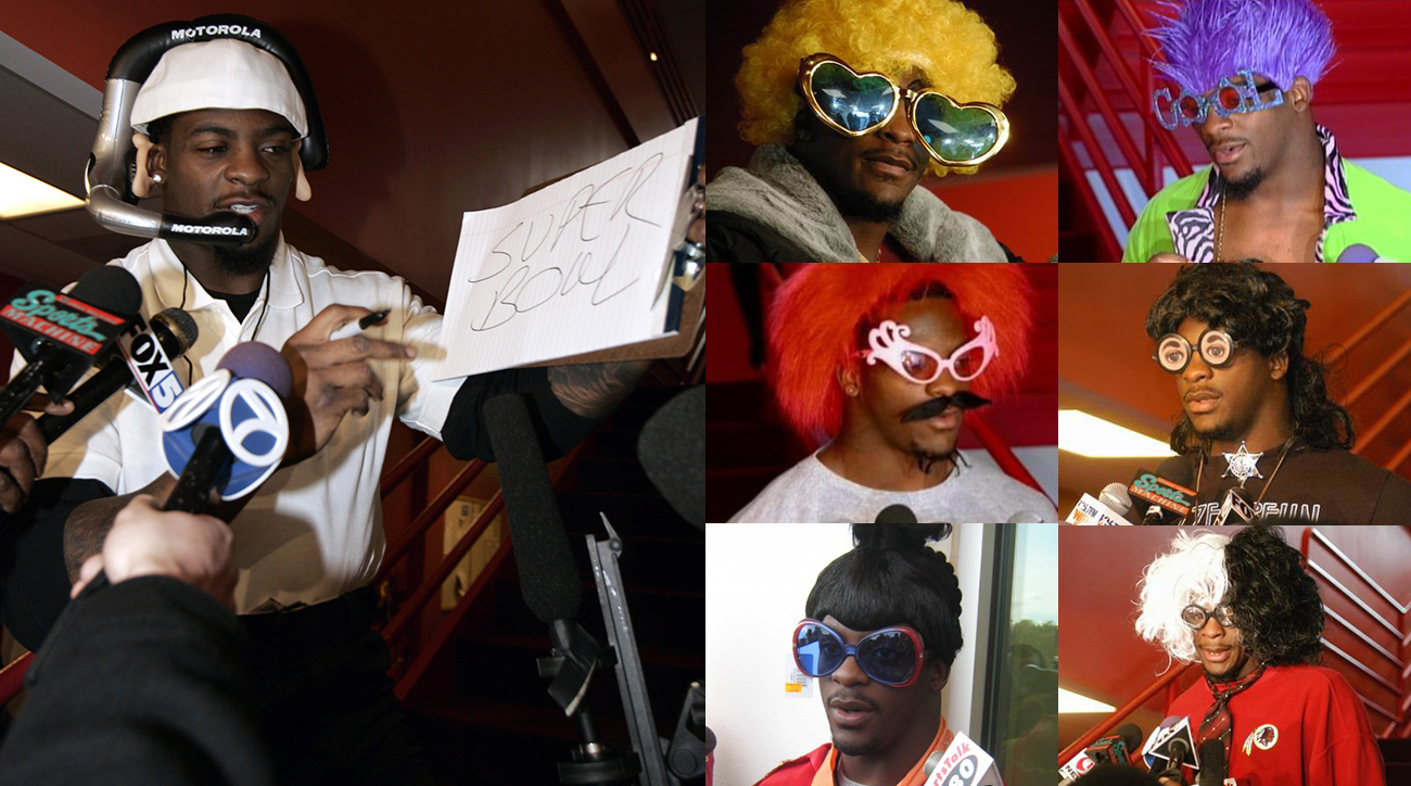 A notorious press conference entertainer, Portis's lighthearted demeanor soured as he plunged into financial ruin. (Notable Portis personas, clockwise from left: Coach Janky Spanky, Bro Sweets, Dolla Bill, Dr. I Don't Know, Sheriff Gonna Getcha, Choo Choo, Reverend Gonna Change)