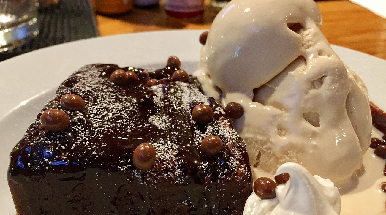 A candied bacon brownie and bourbon ice cream.
