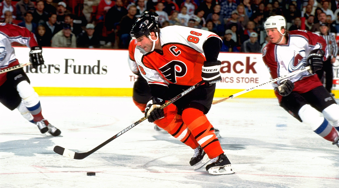 Lindros's tendency to skate with his head down put him in peril when the NHL's most feared enforcers squared him up.