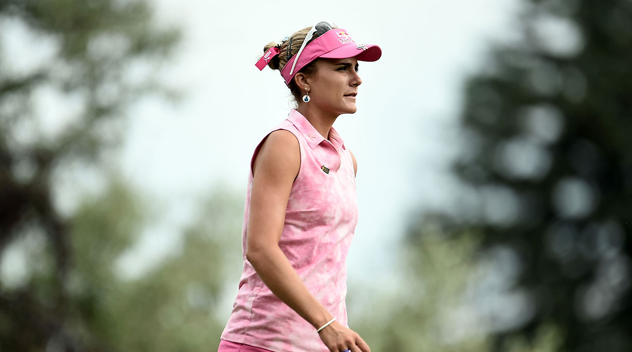 Lexi Thompson leaves the 12th tee box during the third round of the 2017 Meijer LPGA Classic.