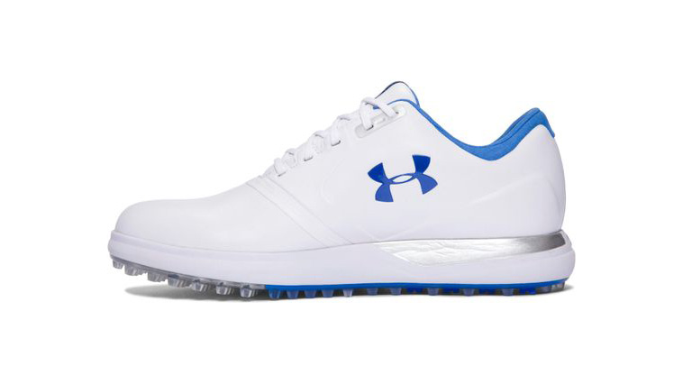 Under Armour's blue and white Performance Spikeless is waterproof, breathable and specifically designed for the narrower width of a woman's foot.  Shop Now