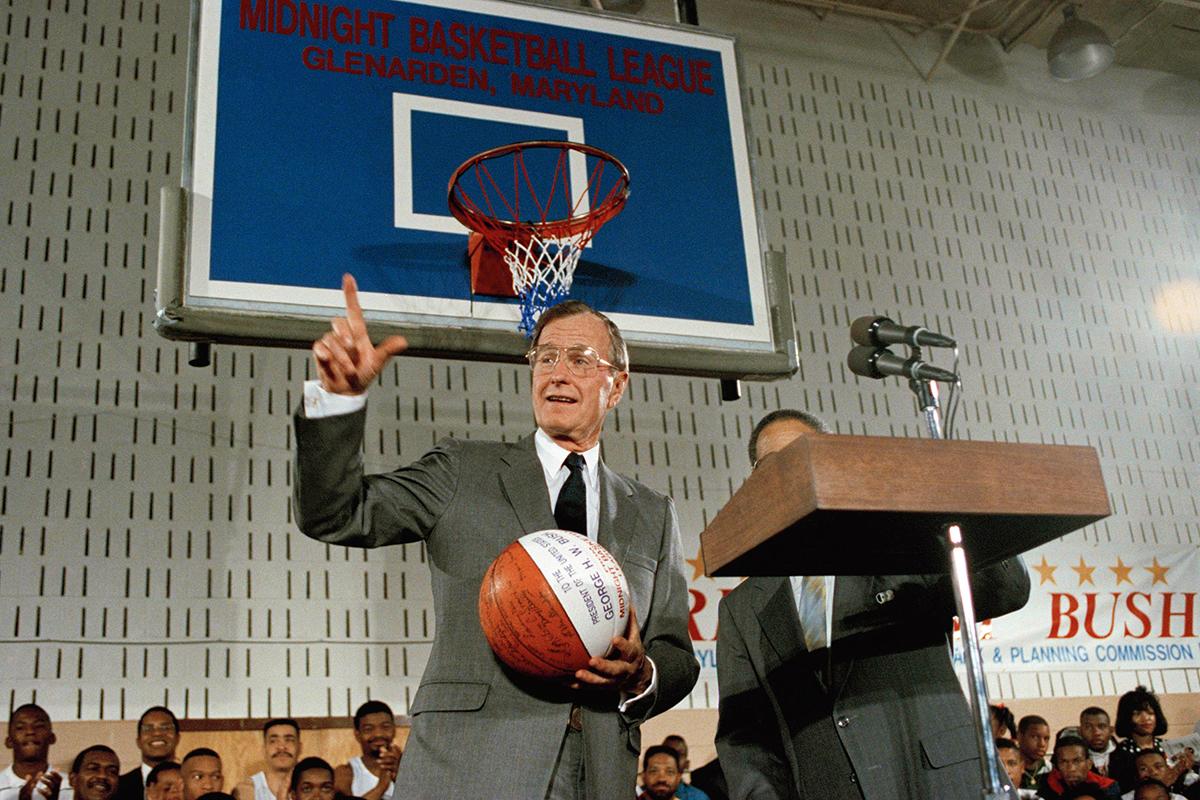 George H.W. Bush at midnight basketball ceremony