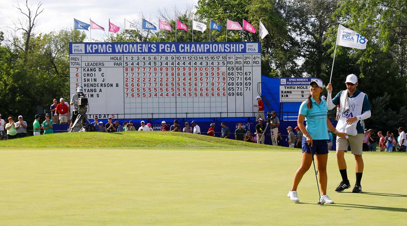 Danielle Kang waves to fans after finishing her third round of the 2017 KPMG PGA Championship.