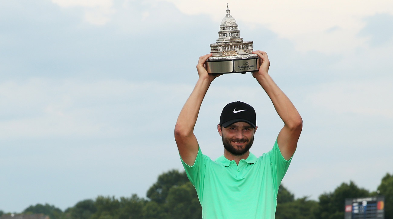 Kyle Stanley celebrates his second career PGA Tour win at the Quicken Loans National.
