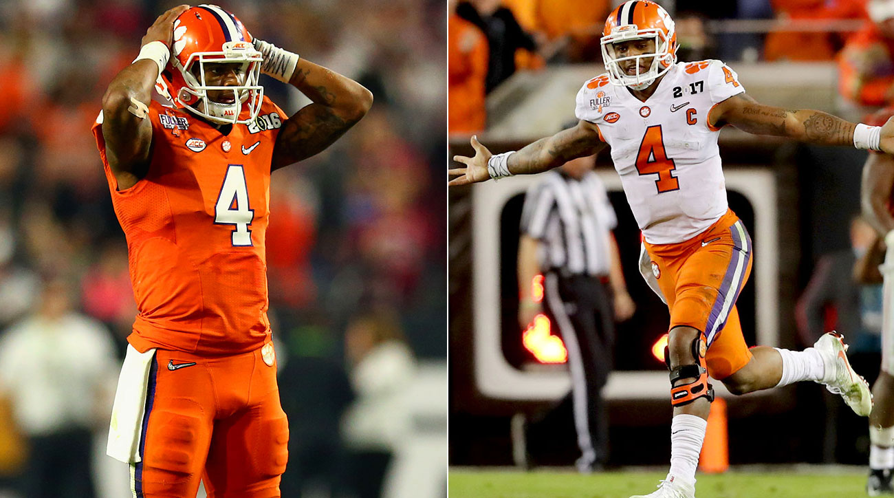 On the left, Deshaun Watson laments Clemson's title game loss in 2016; On the right, he celebrates its win one year later.