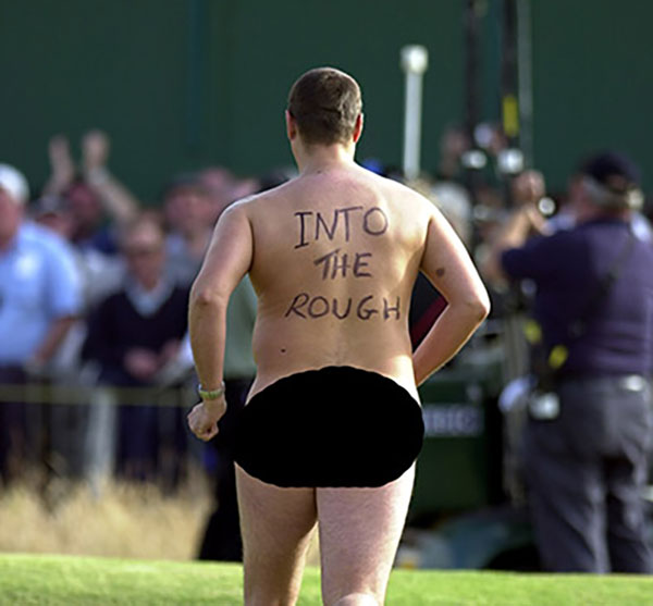 An un-named streaker on the 18th tee on the final day of the the Open Championship at Royal Lytham & St Annes.