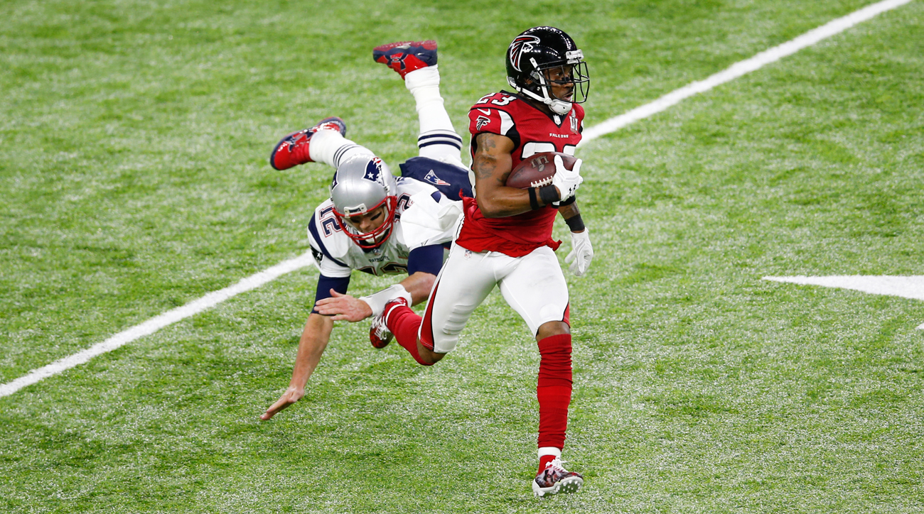 Robert Alford's pick-six in Super Bowl 51 was the first thrown by Tom Brady in a postseason game.
