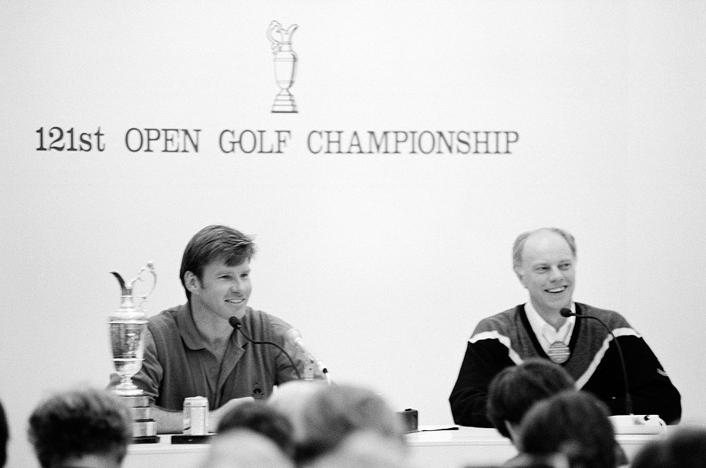 Nick Faldo speaking to the press at the 1992 Open Championship.