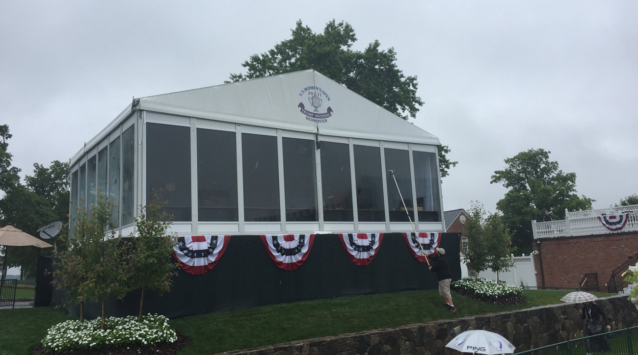 President Trump watched the action at the U.S. Women's Open from an enclosed bulletproof grandstand.