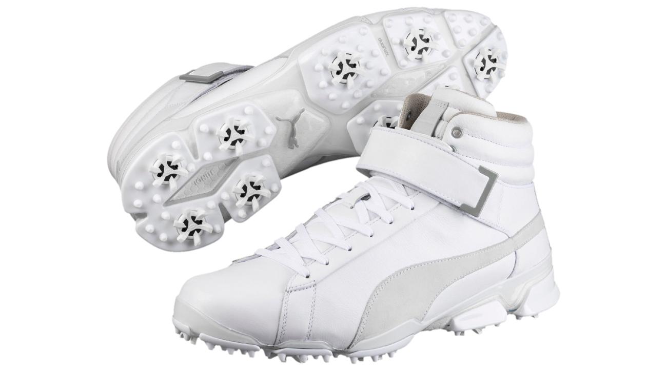 The new all-white Puma Titantour Ignite Hi-Top shoes.