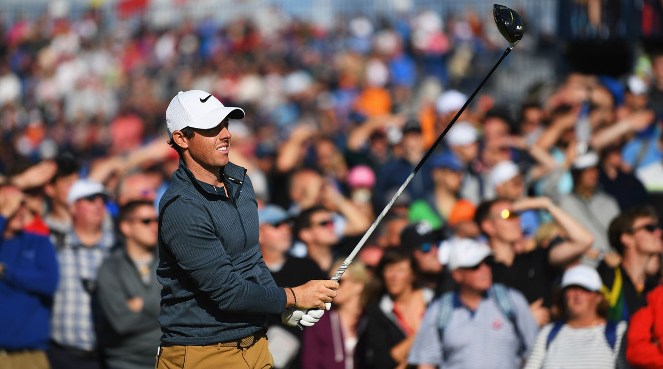Rory McIlroy tees off during the first round of the 146th Open Championship at Royal Birkdale.