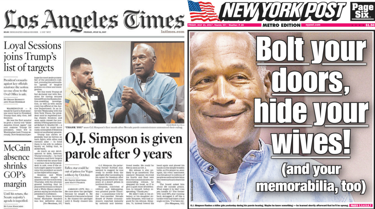 News News: OJ Simpson Reaction: Newspaper Front Pages, Headlines