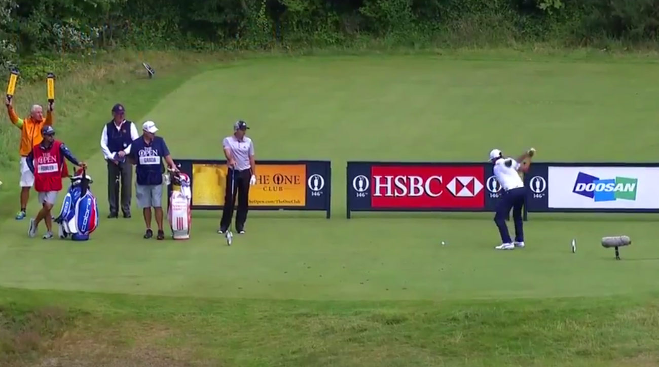 Fowler tees off on the par-4 5th hole in the third round of the 2017 Open Championship.
