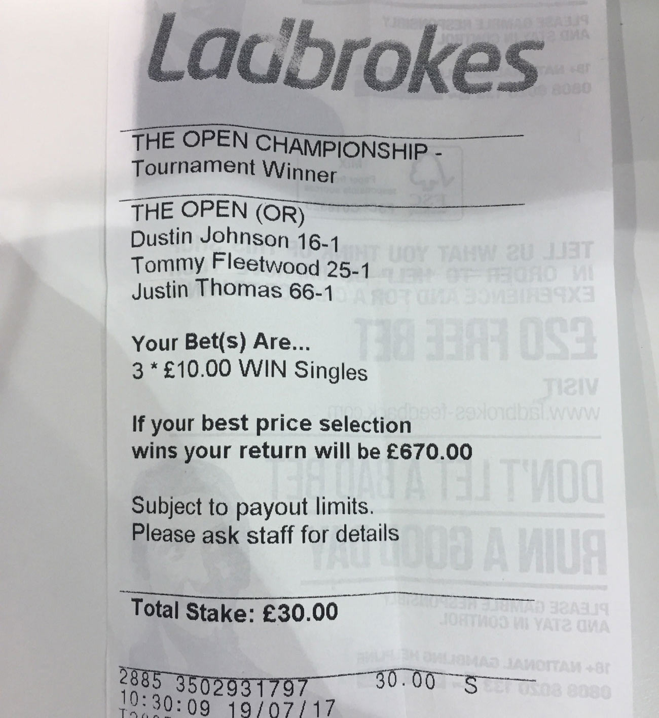 The fabled betting slip.