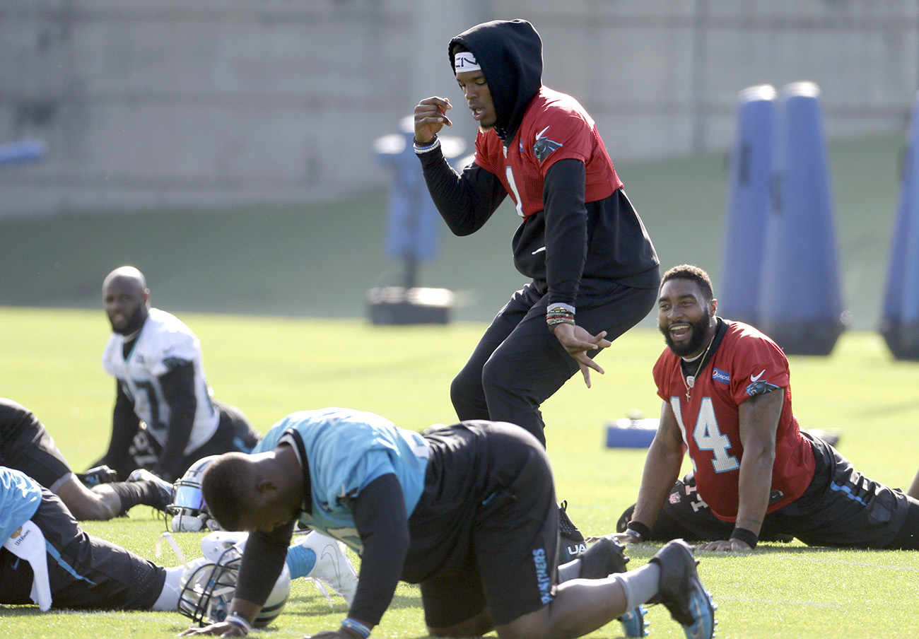 Newton wasn't throwing, but he was dancing at veteran minicamp in June. (Coming off shoulder surgery, he did individual stretching sessions before the team took the field.)