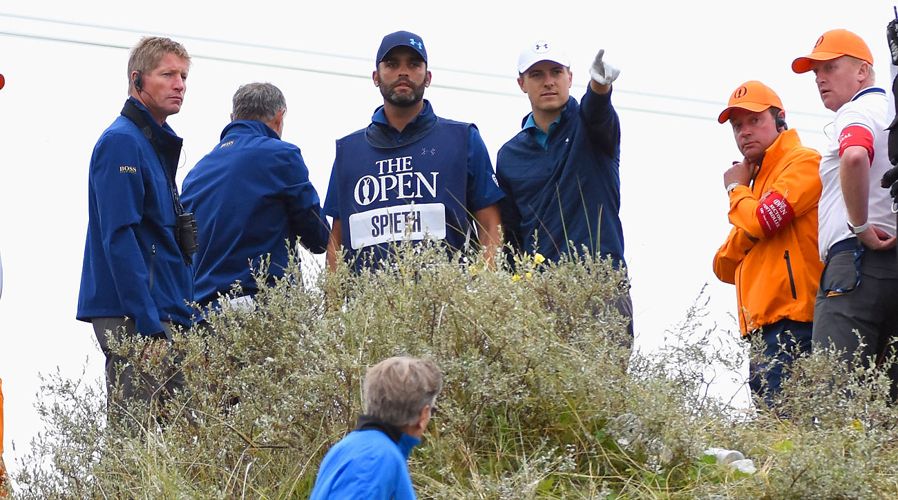Caddie Michael Greller helped Spieth navigate a confusing 13th hole in the final round.