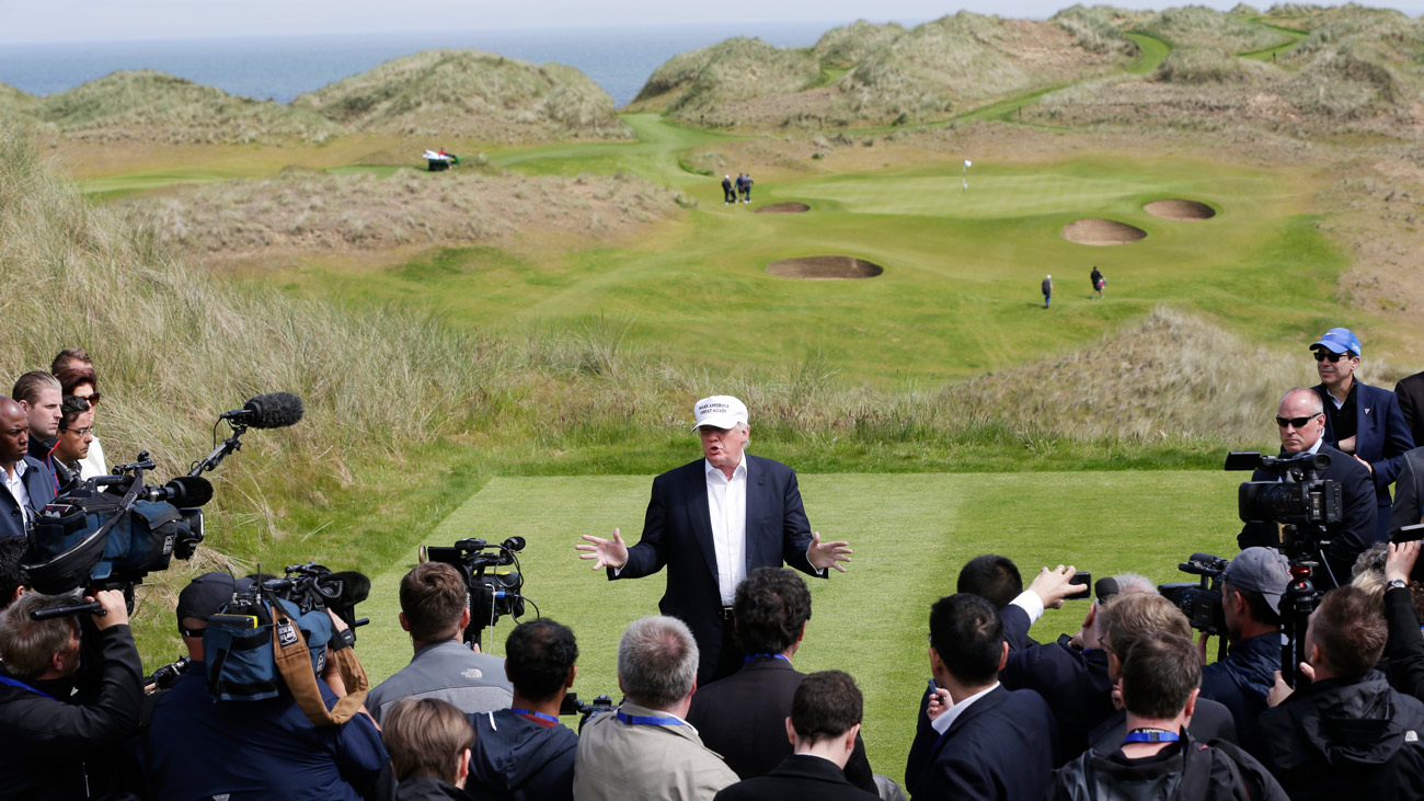 Donald Trump addresses the media at Trump International Golf Links in Aberdeen, Scotland.