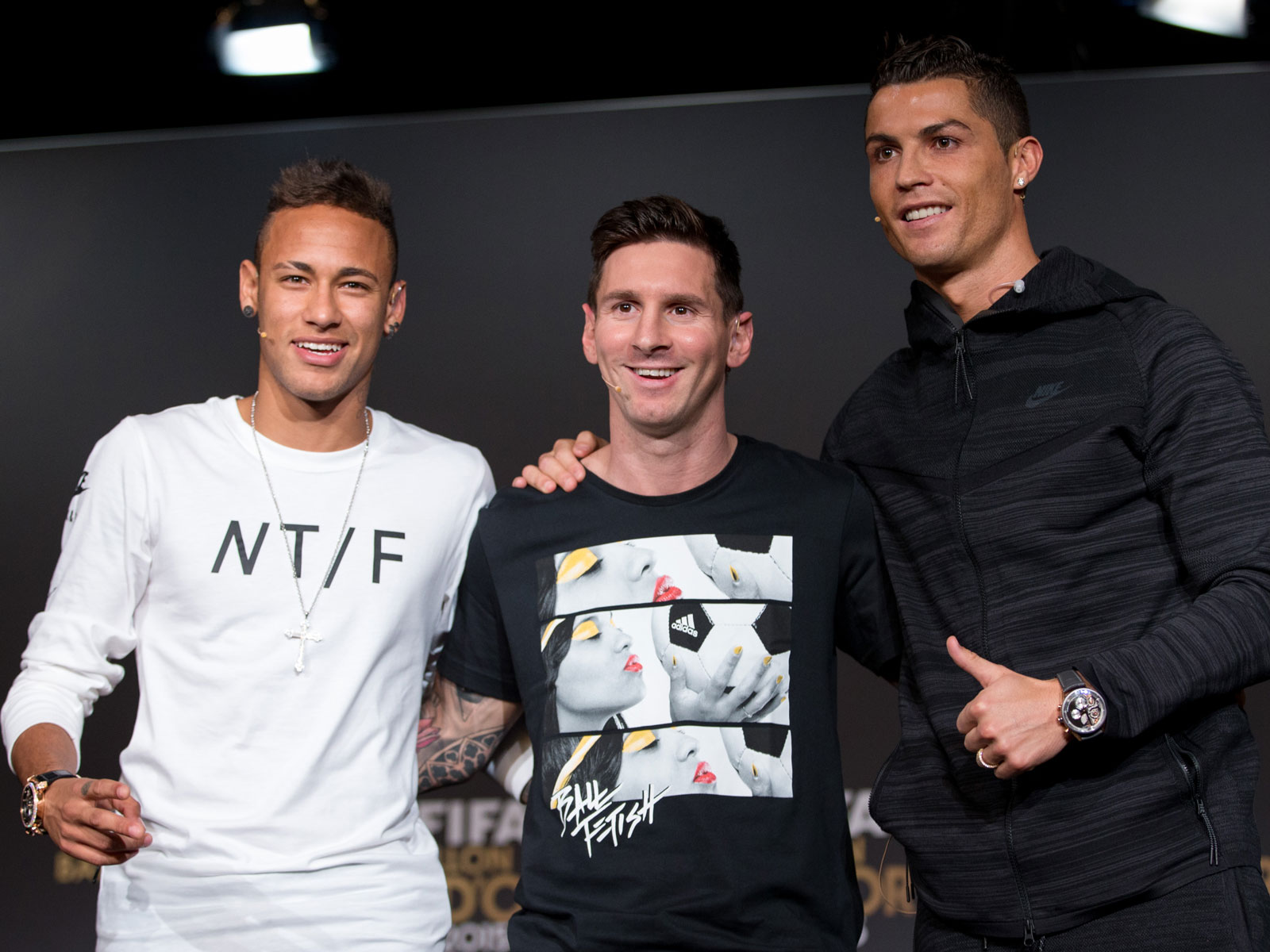 Neymar, Lionel Messi and Cristiano Ronaldo at the 2015 Ballon d'Or ceremony