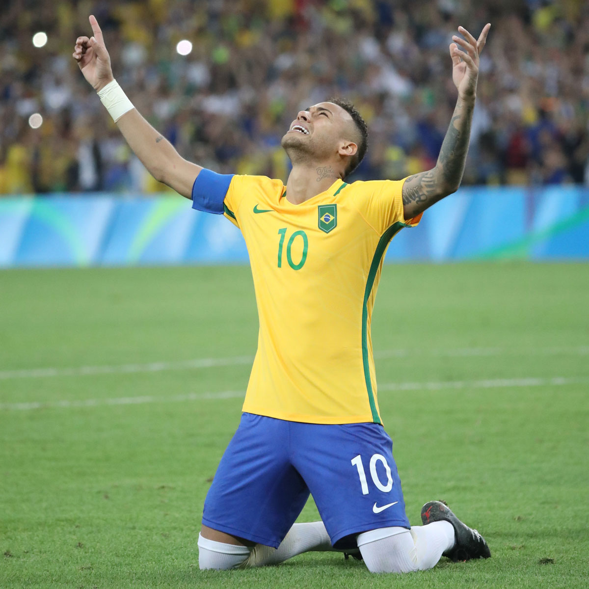 Neymar celebrates after the gold-medal-clinching kick in the 2016 Olympics