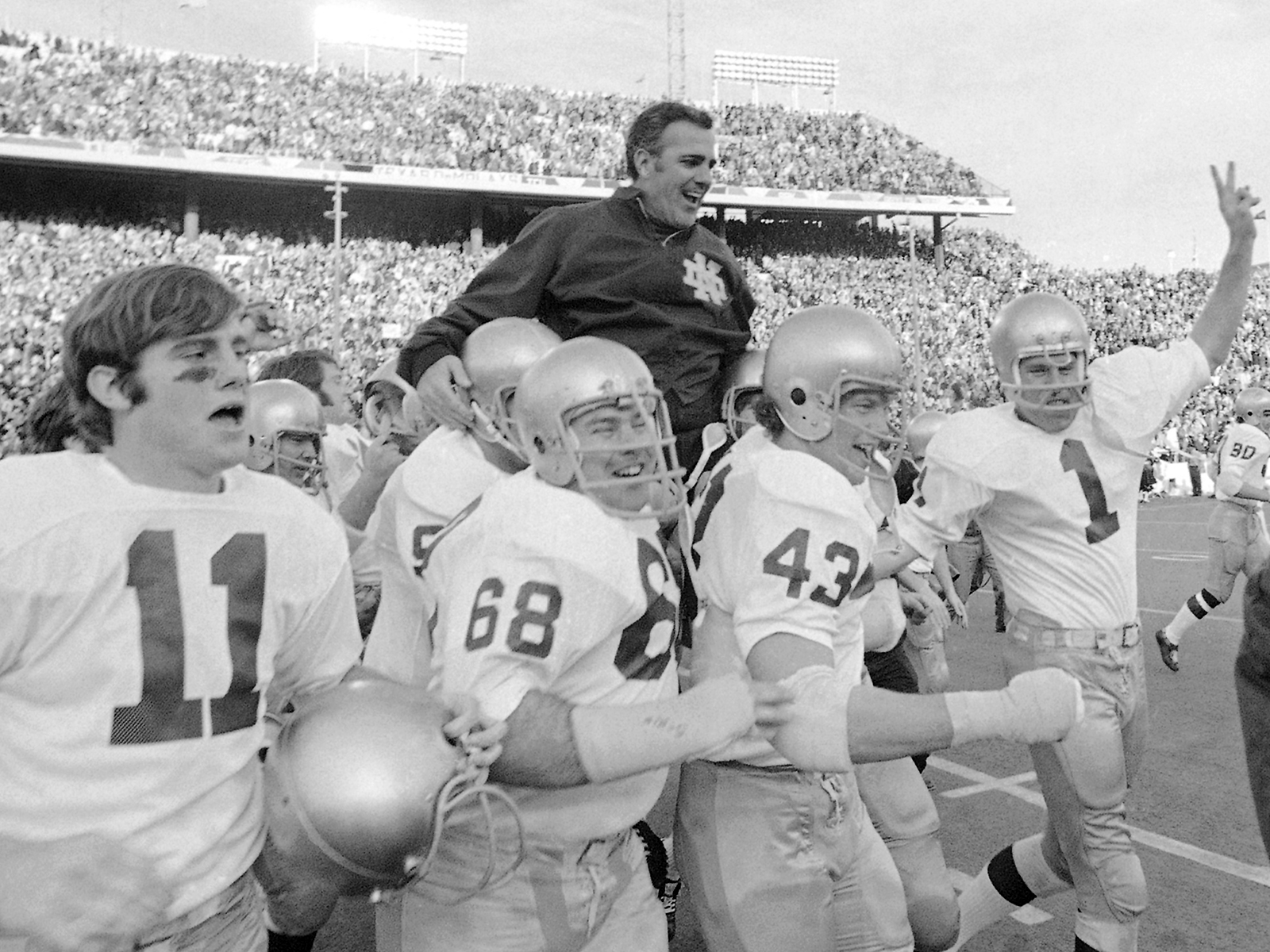 Parseghian was carried off the field after getting revenge on Texas in the Cotton Bowl.