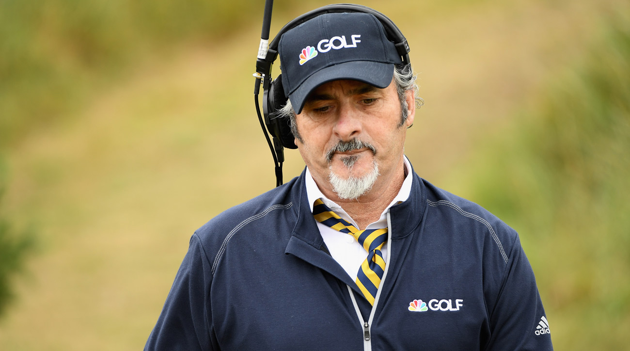 David Feherty walks the fairways during the first round of the 146th Open Championship at Royal Birkdale.