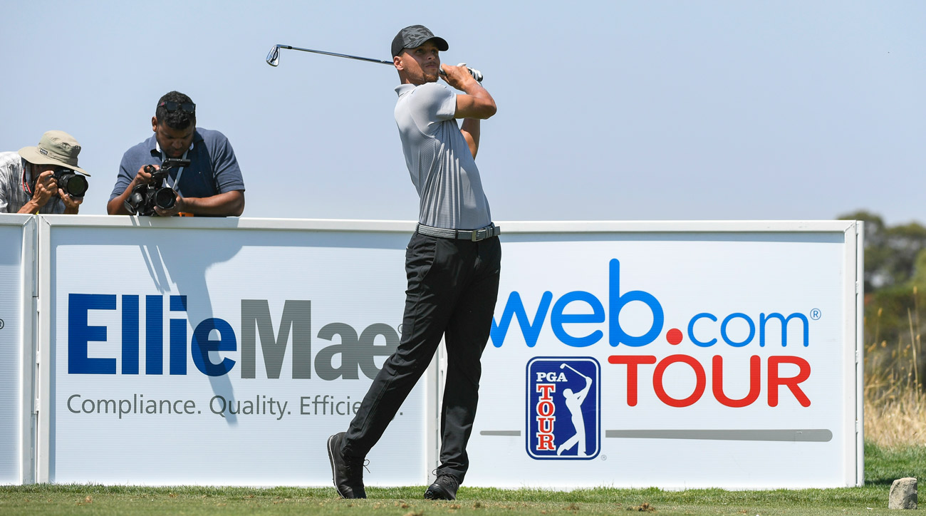 Stephen Curry plays his shot from the 16th tee during practice for the Web.com Tour Ellie Mae Classic.