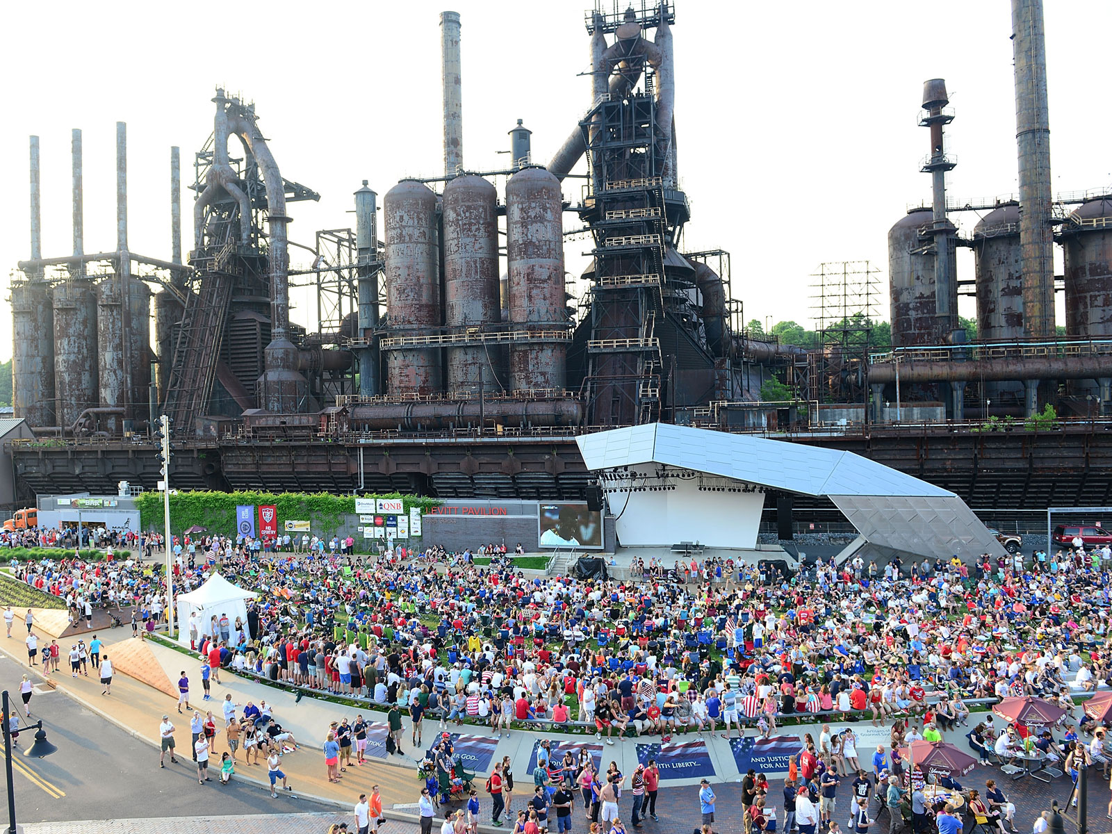 US Soccer fans watch the 2014 World Cup at the Bethlehem SteelStacks