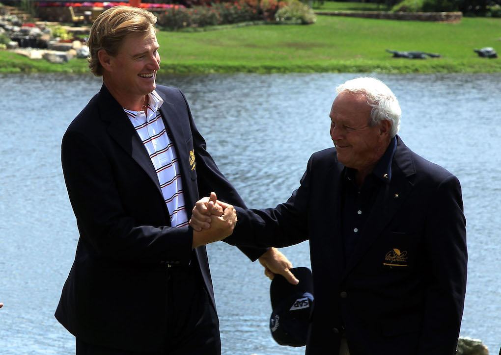 The friendship between Arnie and Ernie sparked at the 1992 PGA Championship and was crowned in 1998 when Els won Palmer's Bay Hill Invitational.