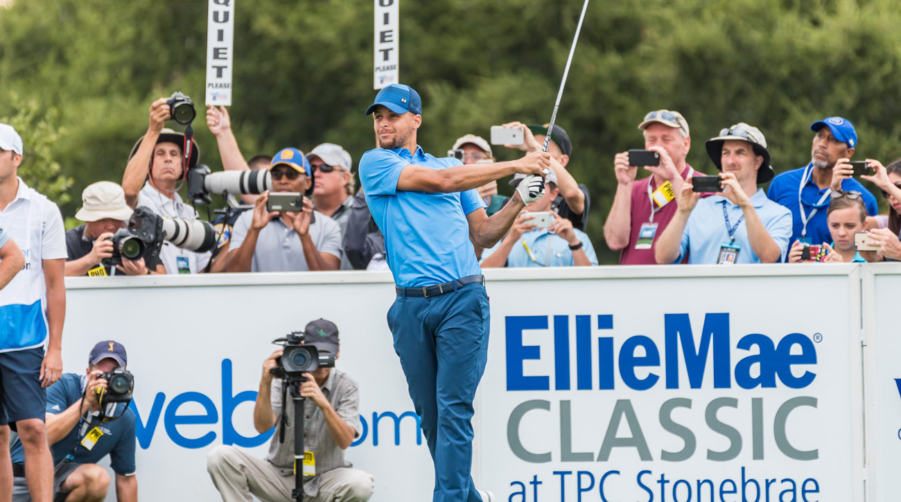 Stephen Curry tees off at the 10th hole during the first round of the Ellie Mae Classic.