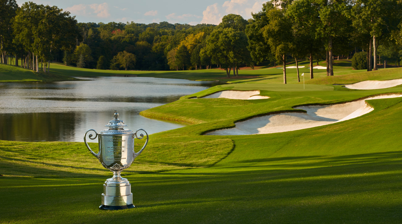 The Wanamaker trophy on the 14th hole at Quail Hollow.