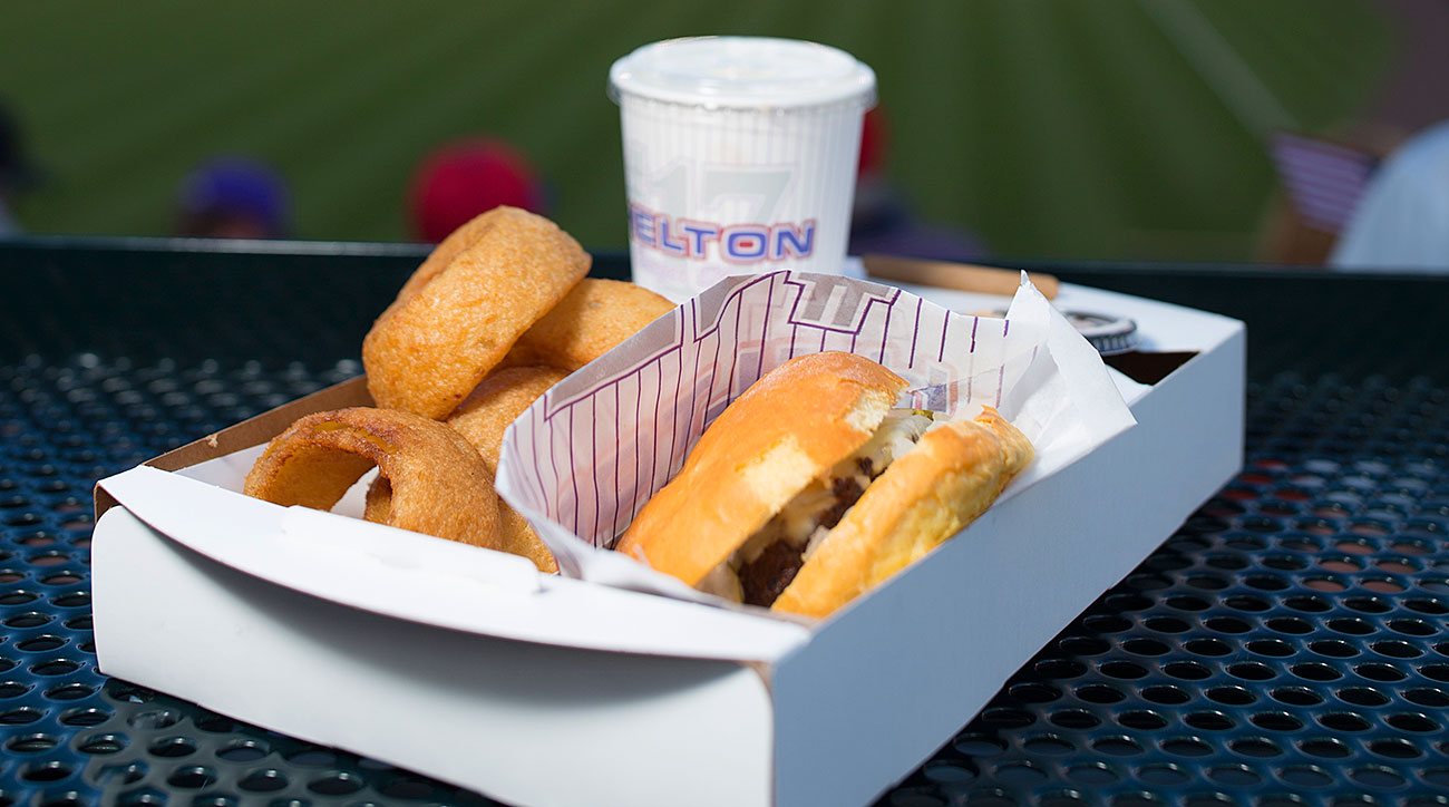 A burger and a shake available at Coors Field.