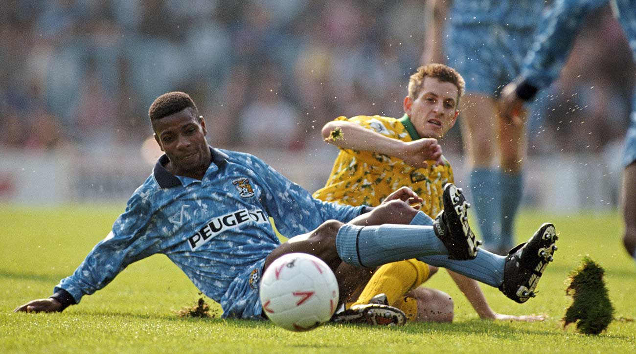 Coventry player Lloyd McGrath is challenged by Ian Crook of Norwich at Highfield Road on September 29, 1992.