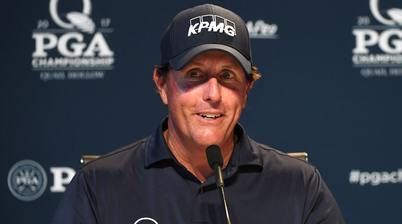 Phil Mickelson speaks during a  press conference to celebrate his 100th major prior to the 2017 PGA Championship at Quail Hollow.