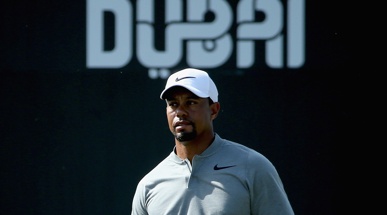 Tiger Woods looks on during the pro-am event prior to the Omega Dubai Desert Classic in February.