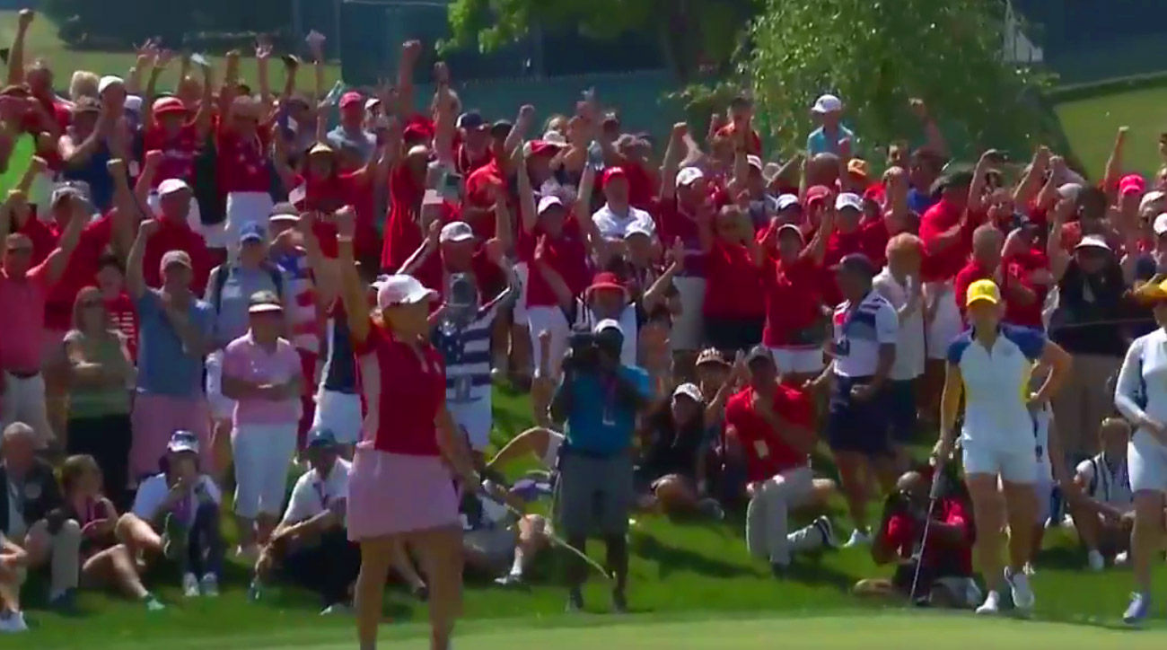 Kerr's putt on the 18th sent the U.S. fans into a frenzy.
