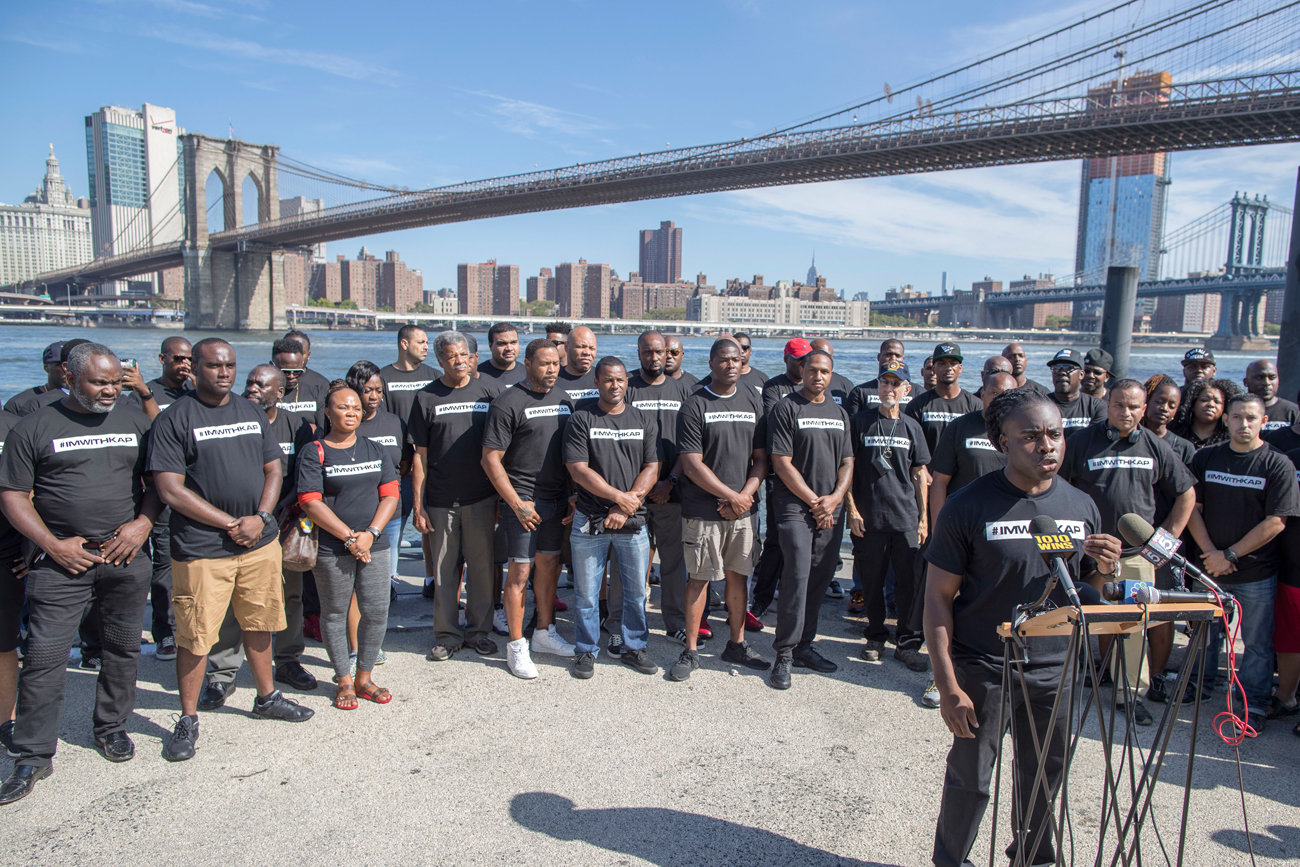 Members of law enforcement rallied in New York City on Saturday to show support for unemployed quarterback Colin Kaepernick.