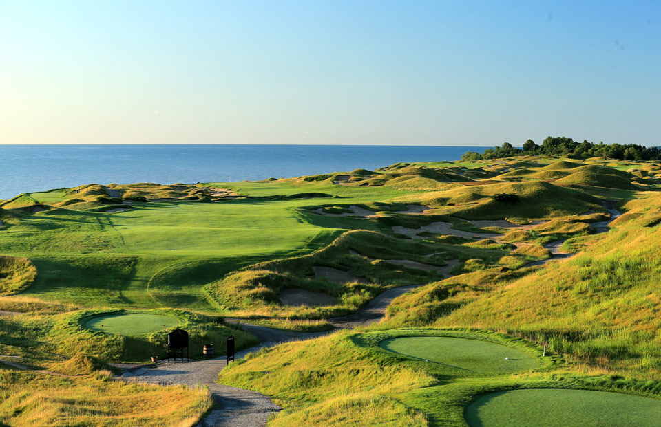 <p>Kohler, Wisc., Pete Dye, 1998</p><p>This 1998 Pete Dye design on Lake Michigan was once a poker table-flat military training base in World War II. Eventually it became a site for illegal dumping of toxic waste. Dye and owner Herb Kohler engineered a mind-boggling cleanup, moved 3 million cubic yards of dirt, trucked in 7,000 loads of sand to create the hills and bunkers and relocated the bluffs farther back from the shore. </p>