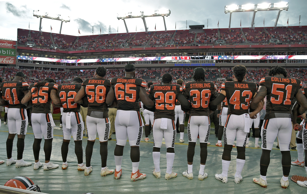 The Browns chose to lock arms during the national anthem before their preseason game against the Bucs on Saturday.