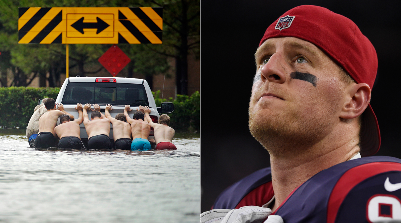 While the city of Houston deals with catastrophic flooding, Texans pass rusher J.J. Watt is helping raise money for relief.