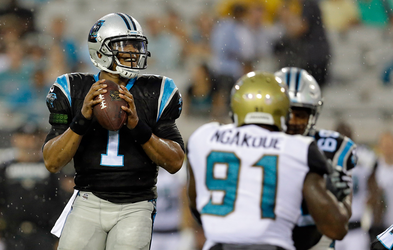 Cam Newton played—briefly—in Week 3 against the Jags, his first game action since offseason shoulder surgery.